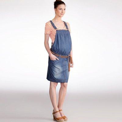 Comprar Vestido de embarazo tipo peto corte recto de denim