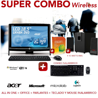 Comprar PC AIO + OFFICE2010 + PARLANTES + TECLADO Y MOUSE