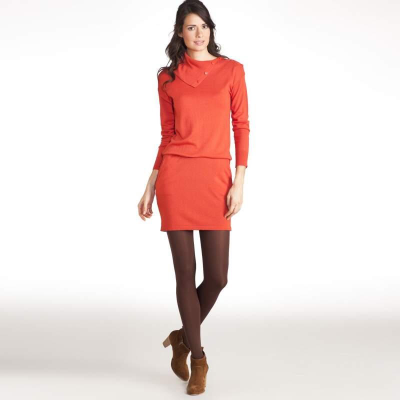 Comprar Vestido-jersey de manga larga de lana merina y viscosa