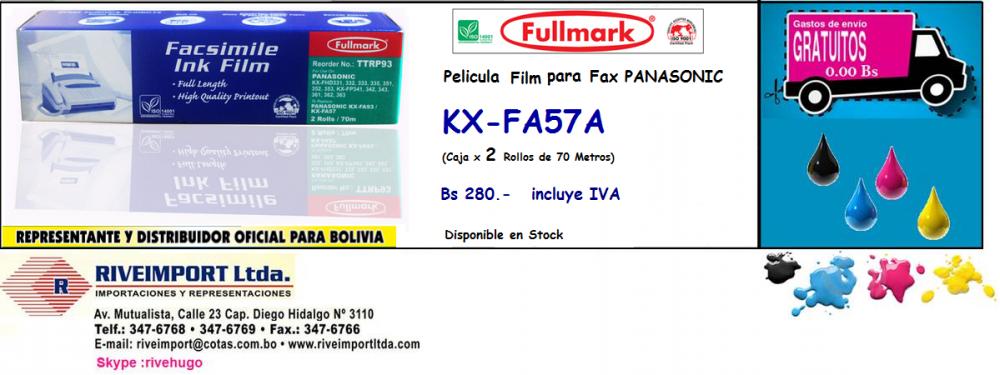 Comprar Pelicula para Fax Panasonic KX-FA57 ( 2 Rollos en una Caja) !