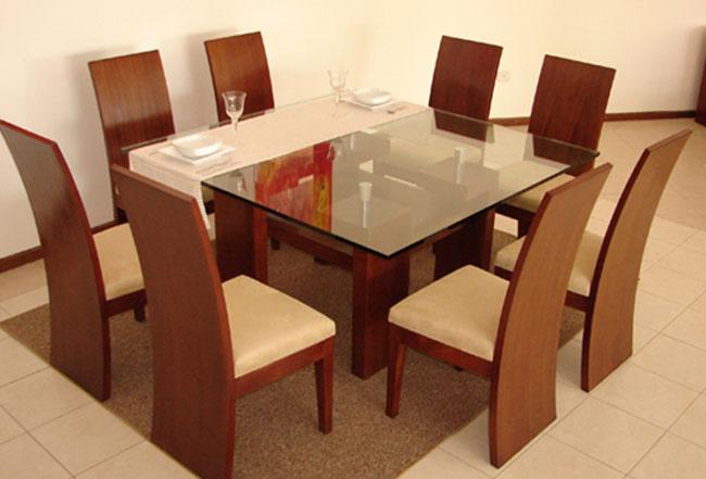 1 mesa cuadrada con tapa de vidrio de 19mm 8 sillas con espaldar ...