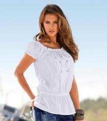Camisa blusa mujer manga corta con bordado suizo