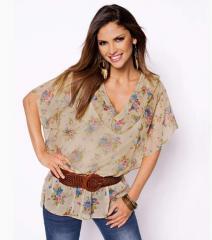Camisa blusa mujer manga corta estampada