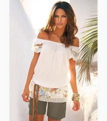 Blusa camisa mujer manga corta con puntilla