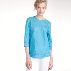 Blusa mangas 3/4 cuello redondo gasa 100% algodón