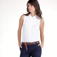 Camisa sin mangas, en 2 tejidos seda y algodón