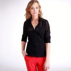 Camisa entallada con bordado inglés 100% algodón