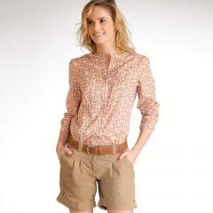 Blusa escote redondo algodón de flores