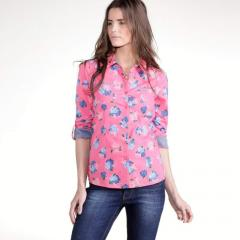 Camisa con flor, 100% algodón