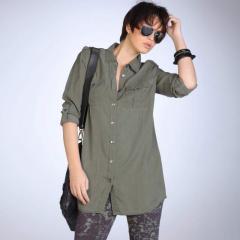 Camisa larga de manga larga Lyocell