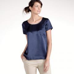 Camiseta en 2 tejidos seda y algodón modal