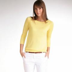 Jersey cuello redondo liso de manga larga, viscosa