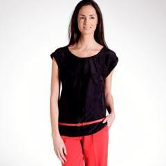 Blusa manga corta de seda y algodón