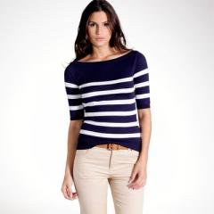 Jersey a rayas cuello barco, 100% algodón light