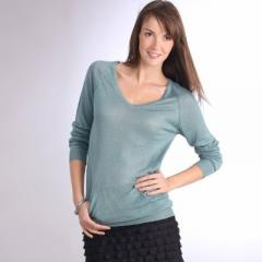 Jersey con escote de pico y manga larga, de lino 6
