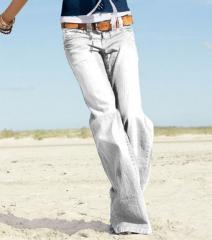 Pantalon largo vaquero jeans mujer corte ancho
