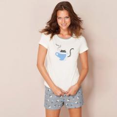 Pijama con pantalón corto de punto