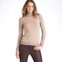 Jersey de cuello vuelto de pura lana merina