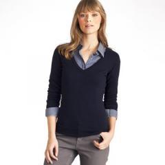 Jersey escote de pico, lana merina y viscosa