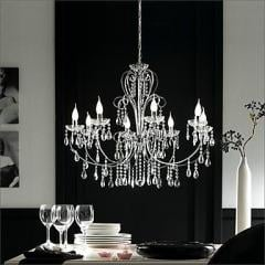 Crystal Chandelier,3 - 5 Lights,Modern Silver Chrome Metal