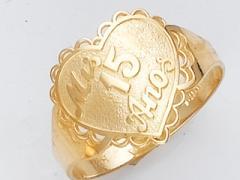 Anillo de Oro Amarillo con detalles de corazon
