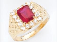 Anillo de Oro amarillo con piedra de rubi y al