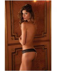 Rene Rofe Crotchless Sparkle Dot Thong m/l - 1038-Black