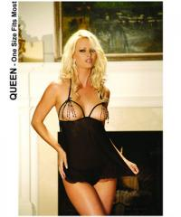 Mesh Peek-a-Boo Babydoll & G-String w/Beaded Trim QN - 7977-OQ