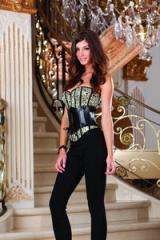 Precioso corset en tejido jacquar enriquecido, con